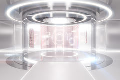 Light teleport with business panels. Abstract glowing light teleportation station with business panels. Future concept. 3D Rendering Stock Photos