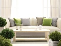 Light terrace with sofa and flowers. Light terrace with sofa, flowers and candles Stock Image