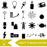 Light theme modern simple black icons light source eps10. Light theme modern simple black icons light source Royalty Free Stock Photo