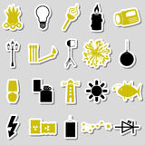 Light theme modern simple black and yellow stickers icons eps10. Light theme modern simple black and yellow stickers icons Royalty Free Stock Image