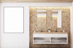 Light tile bathroom, sink Stock Photo