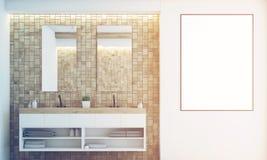 Light tile bathroom, sink, toned Stock Photography