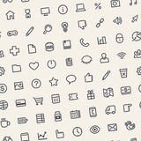Light Tilted Seamless Pattern with Universal Web Icons Royalty Free Stock Images