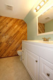 Light tones bathroom with a wooden panel wall Stock Photo