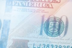 Light toning Macro close up of Ben Franklin`s face on the US 100 dollar bill. Macro close up of Ben Franklin`s face on the US 100 dollar bill Stock Photography