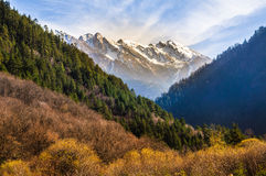 The light on top of snow mountain in Jiuzhaigou, China Royalty Free Stock Image