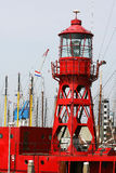 Light tower. On a lightship in the harbor of Harlingen(Holland Stock Photography