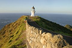 Light Tower. In the Cape Reinga, North Point of New Zealand Royalty Free Stock Image