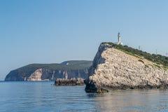 Light tower. Beautiful light tower of Lefkada Royalty Free Stock Image