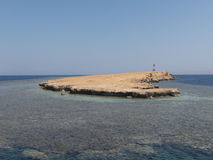 Light tower on a coral reef in the Red Sea royalty free stock photos
