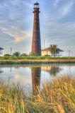 Light Tower in Distant Ocean Setting Royalty Free Stock Photos