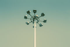 Light tower sport stadium light pole. Royalty Free Stock Images