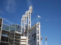 Light towers. On baseball stadium royalty free stock photo