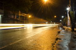 Light trace for the night. Light trace on the street at night in the middle of the town Royalty Free Stock Photos