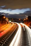 Light traces of highways and cars. It is a light trace of a highway and a car Royalty Free Stock Photography