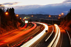 Light traces of highways and cars. It is a light trace of a highway and a car Stock Photography