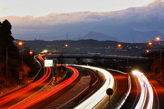 Light traces of highways and cars. It is a light trace of a highway and a car Royalty Free Stock Image