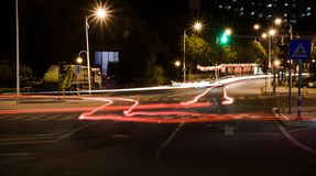 Light Traces at an Intersection royalty free stock photography