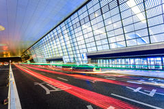 Light traces on traffic at Hangzhou rail station.  Stock Image