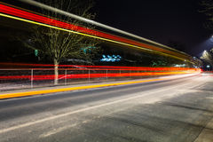 Light traces on traffic junctions Royalty Free Stock Photo