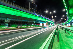 Light traces on traffic junctions at night Royalty Free Stock Photography