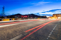 Light traces on traffic junctions at night Royalty Free Stock Photo