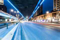 Light traces on traffic junctions Stock Photos