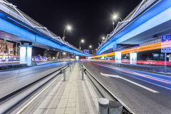 Light traces on traffic junctions Royalty Free Stock Photography