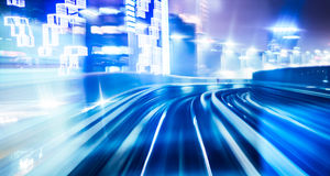 Light traces on traffic junctions Stock Images