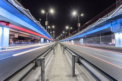 Light traces on traffic junctions Stock Photo