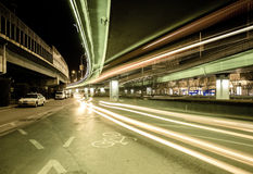 Light traces on traffic junctions at night Royalty Free Stock Image