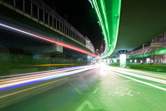 Light traces on traffic junctions at night Stock Photo