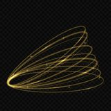 Light tracing effect. Vector circle golden light tracing effect. Glowing magic fire ring trace vector illustration