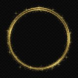 Light tracing effect. Vector circle golden light tracing effect. Glowing magic fire ring trace royalty free illustration