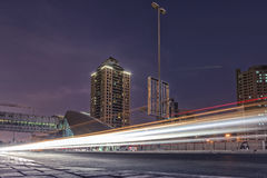 Light track of cars in a long exposure of dubai city. Internet city Stock Image