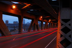 Light tracks of cars in bridge Stock Image