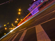 Light tracks of cars in Guangzhou. Royalty Free Stock Photo
