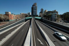 Light traffic. Photo taken from a pedestrian bridge, tunnel in Sydney Stock Photo