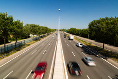 Light traffic. Quiet summer traffic on the main highway Lyngbyvejen leading into the Danish capital of Copenhagen Royalty Free Stock Photography