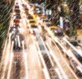 Light traffic on a rainy night Royalty Free Stock Photography