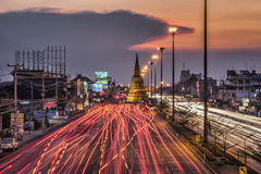 Light traffic on the road at night around the Pagoda Royalty Free Stock Images