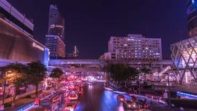 Light traffic transportation in Bangkok, Thailand. In business zone stock video