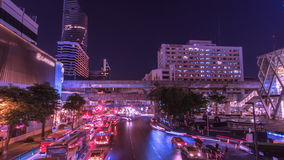 Light traffic transportation in Bangkok, Thailand. In business zone stock video footage