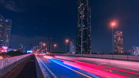 Light traffic transportation in Bangkok, Thailand. Time lapse stock footage