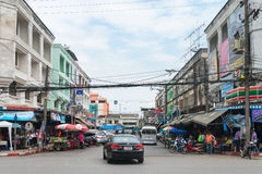 Light traffic on a typical downtown street in central Krabi Tow Royalty Free Stock Photo