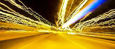 Light Trail. Abstract light trails from cars, signs, and other landmarks Stock Photos
