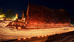 Light trail around ancient temple at Wat Mahaeyong Royalty Free Stock Photography
