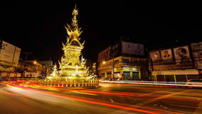Light Trail At Chiang Rai Clock Tower Stock Image