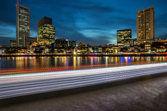 Light Trail at Boat Quay. Landscape photo of Light Trail of Boats in Singapore Royalty Free Stock Image
