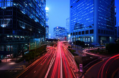 Light trail at busy highway Stock Photos